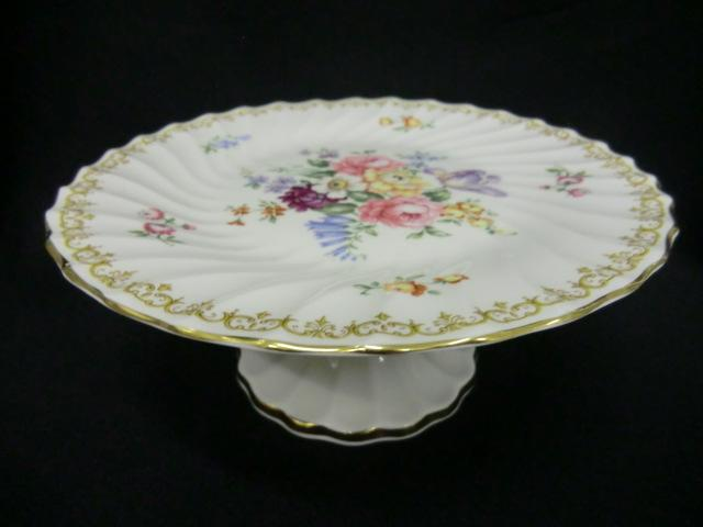 crown staffordshire floral comport    tazza  cake stand