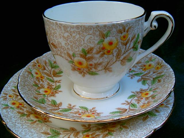 & Grafton China tea trio cup saucer plate set